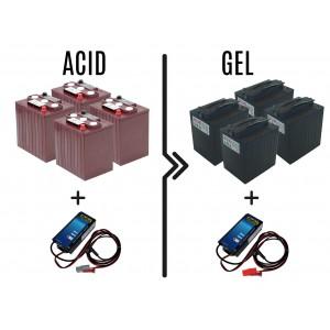 Διαφορά Τιμής από μπαταρία 180 / 240Α οξέος σε 180 / 240Α σε GEL.Ο φορτιστής της μπαταρίας περιλαμβάνεται.